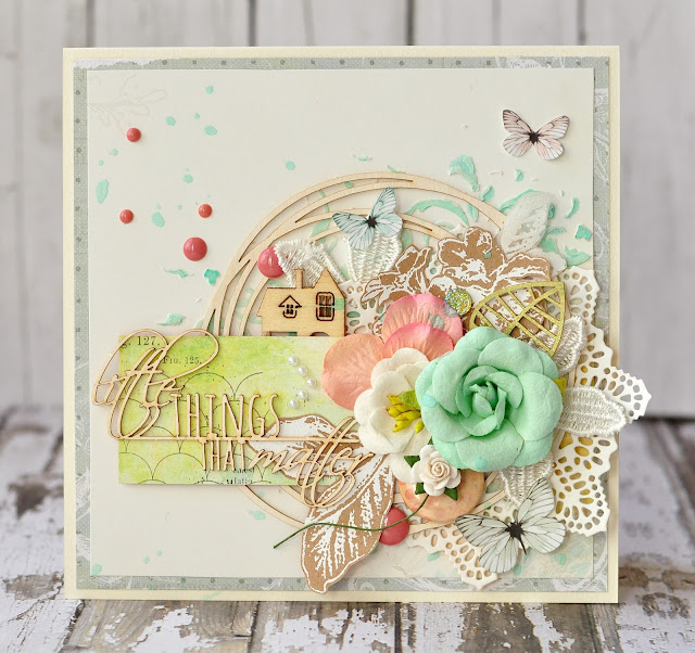 little things that matter | the Mini Art DT @akonitt #card #by_marina_gridasova #prima #theminiart #chipboard #scrapbooking #flowers
