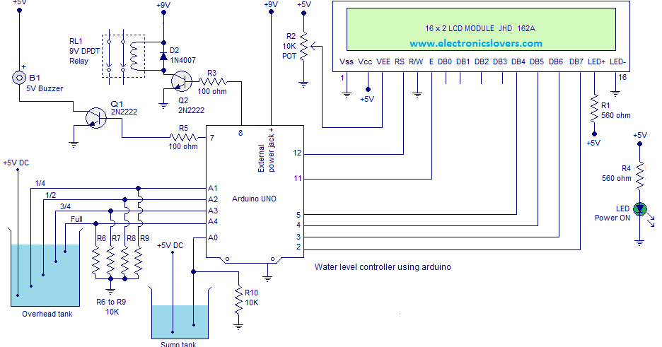 Water Level Controller Arduino on 5v Relay Diagram