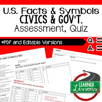 Civics Quiz, Civic Assessment, Civics Test, Goes with Civics Mega Bundle Resources