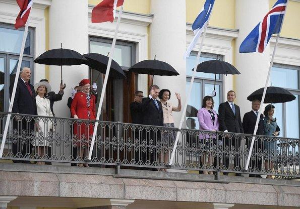 Nordic royals. Queen Margretha, King Carl Gustaf, Queen Silvia, King Harald, Queen Sonja visited the Hanaholmen culture center. Jenni Haukio