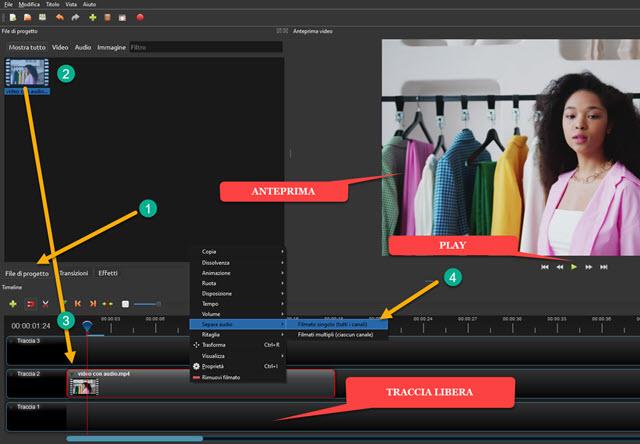 separare audio e video con openshot
