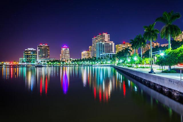 Noite em Palm Beach na Flórida