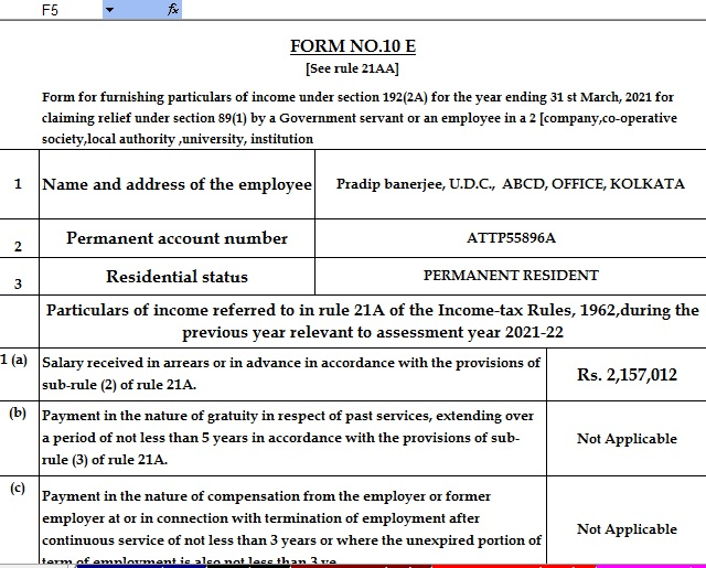 Income Tax Arrears Relief Calculator U/s 89(1) with Form 10E for the F.Y.2020-21