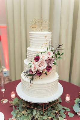 traditional wedding cake with flowers