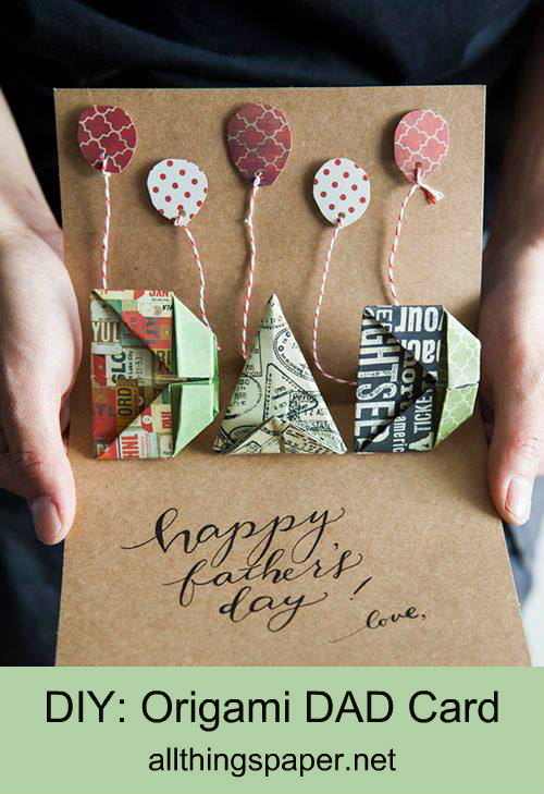 Father's Day pop-up card that features origami DAD letters and paper balloons on red and white striped baker's twine
