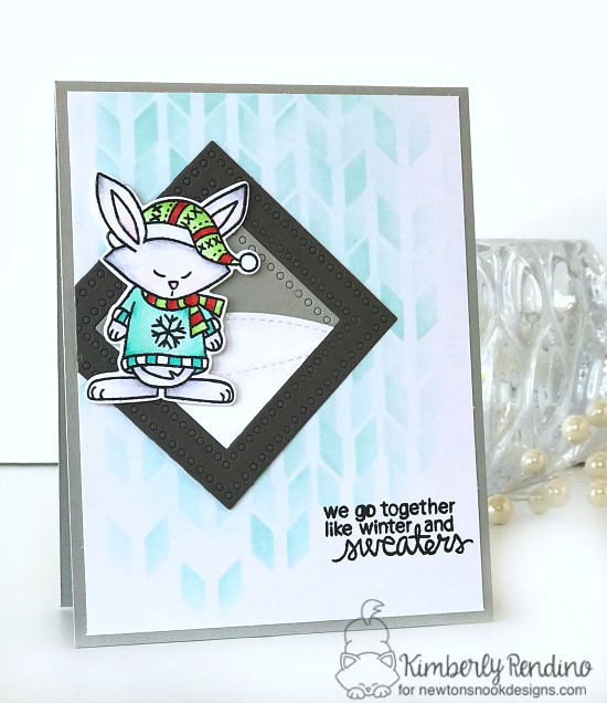 holiday card by Kimberly Rendino | Newton's Nook | sweater weather | bunny | Christmas | papercraft | cardmaking | handmade card