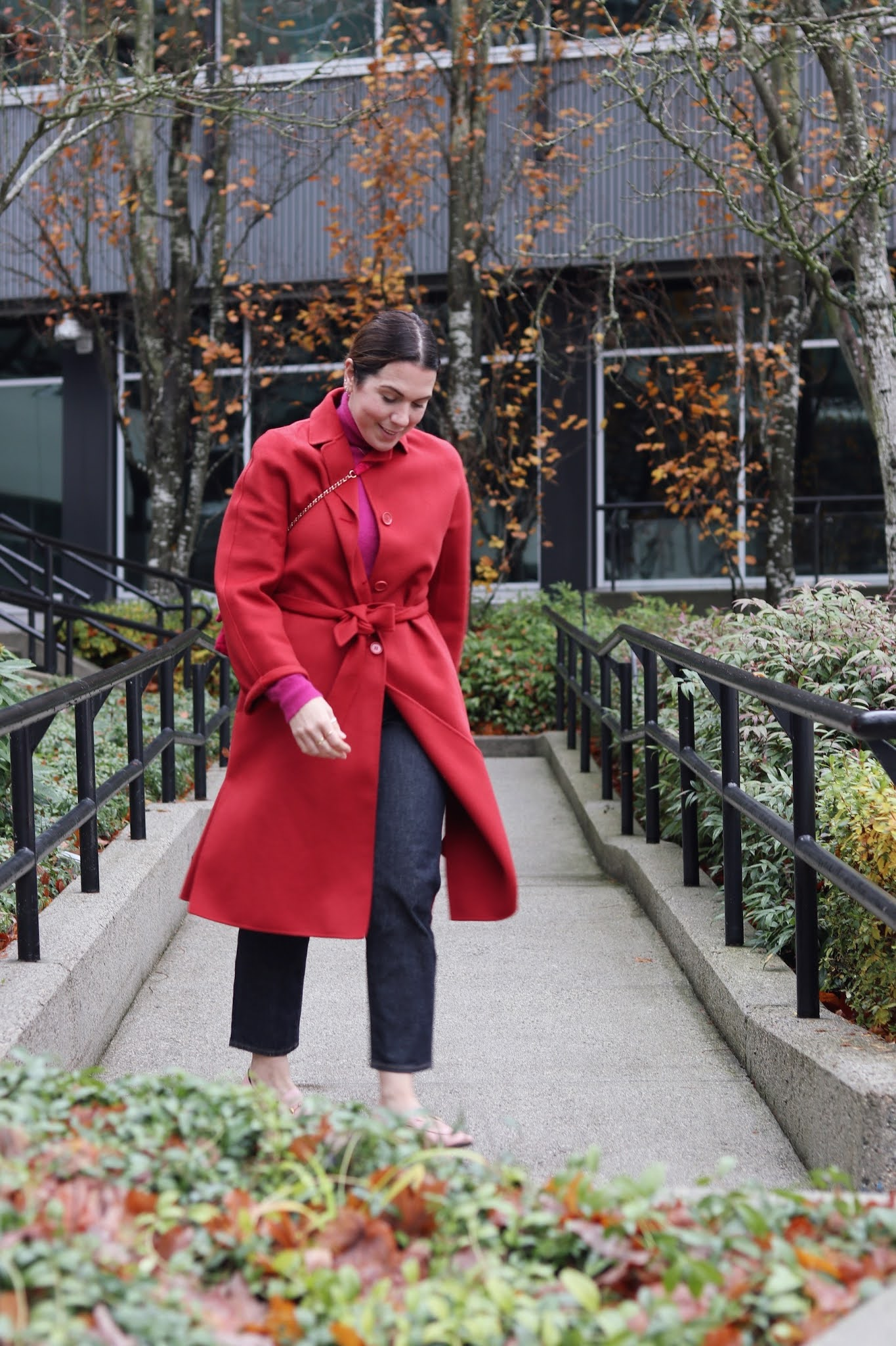 max mara studio belted wool coat red hudson's bay pink and red outfit