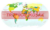 Dünya haritası üzerinde iki tropika arasındaki tropikal kuşağın gösterimi