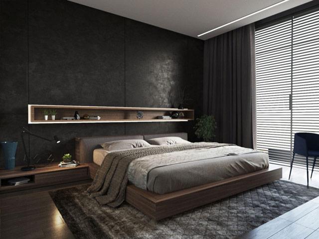 Gam màu xám trầm cho giường nam