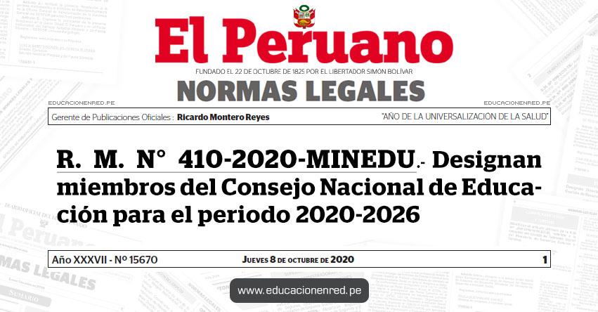 R. M. N° 410-2020-MINEDU.- Designan miembros del Consejo Nacional de Educación para el periodo 2020-2026