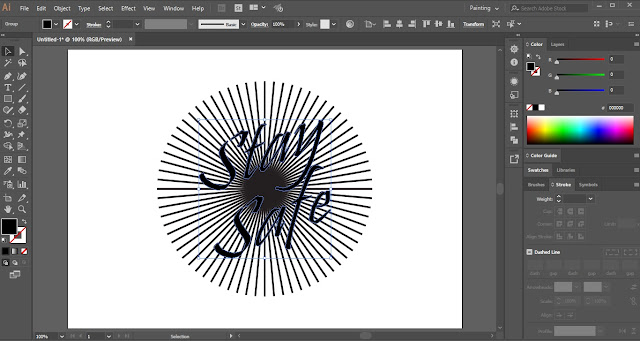 Sunburst Lines Text Effect in Adobe Illustrator