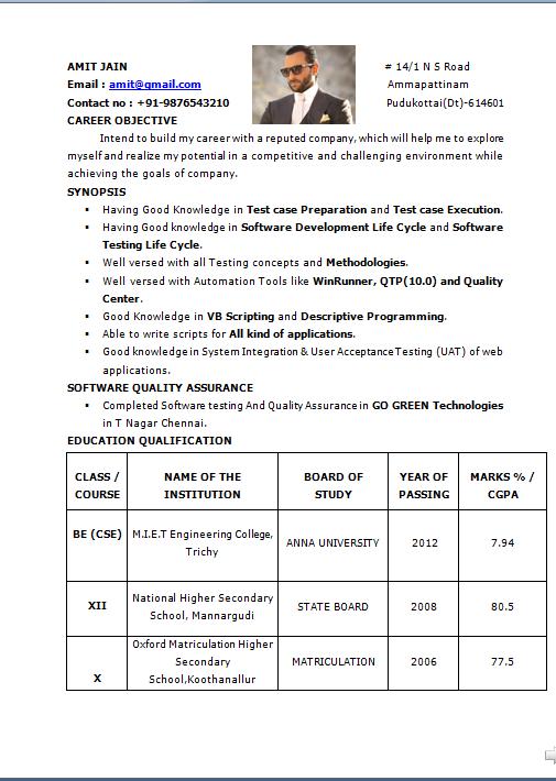 Sample qa resume with qtp