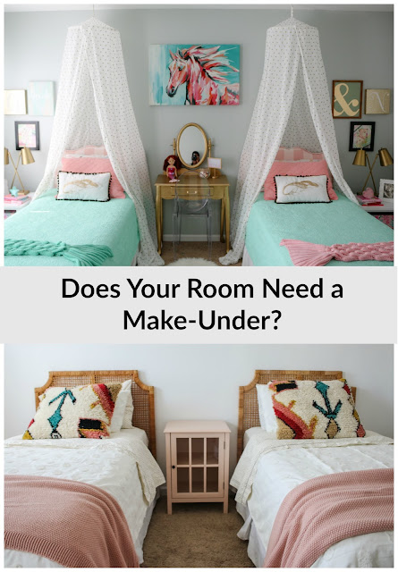 A shared girls room- from mermaid inspired to simplified boho