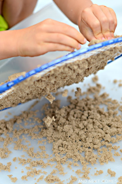 Kinetic sand fine motor sensory activity for kids from And Next Comes L