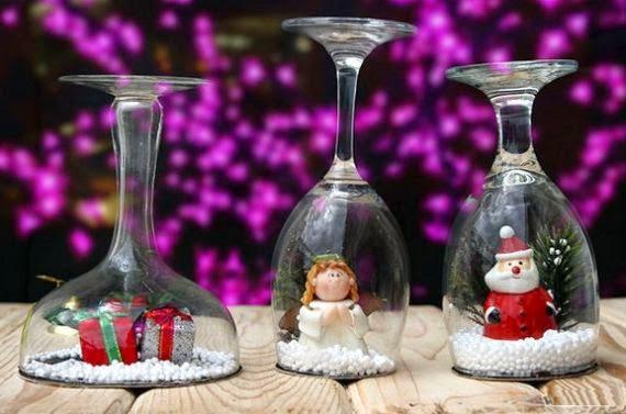 Haz una bola de nieve con copas de vidrio lodijoella - Como decorar copas de cristal ...