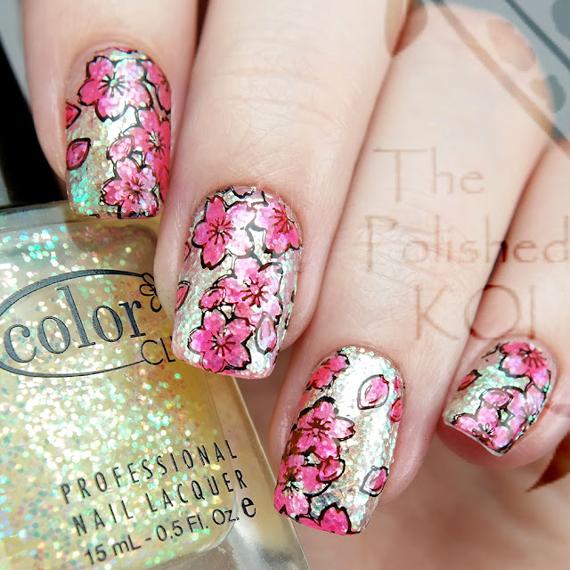 Color Club Snow FlakesCherry Blossom Leadlight Stamping