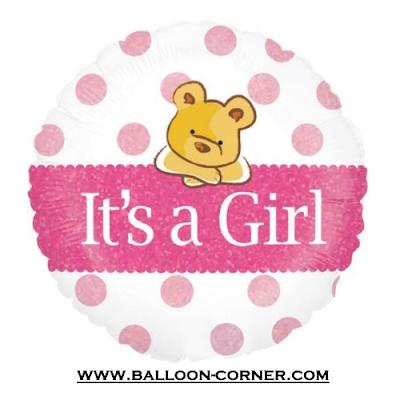 Balon Foil Bulat It's A Girl Bear