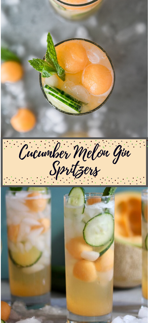 Cucumber Melon Gin Spritzers #healthydrink #easyrecipe #cocktail #smoothie