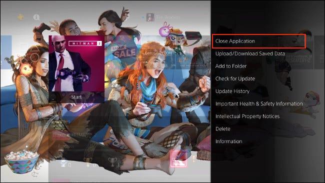 أغلق التطبيق على PS4