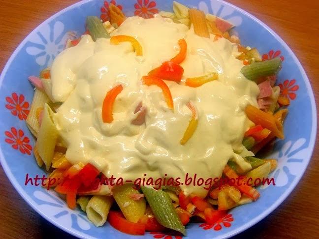 Πέννες τρικολόρε (tricolore) σαλάτα με χρωματιστές πιπεριές - by https://syntages-faghtwn.blogspot.gr