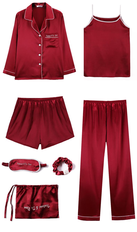Bộ Pijama ngủ 7 chi tiết bằng lụa mặc nhà dễ thương 5