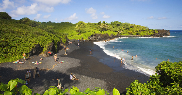 Black sand beach in the Philippines