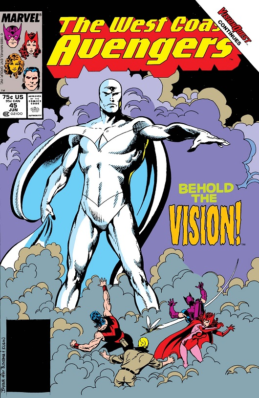 Cover of West Coast Avengers #45 featuring White Vision towering over Scarlet Witch, Wonder Man, The Wasp, Hawkeye and ?US Agent
