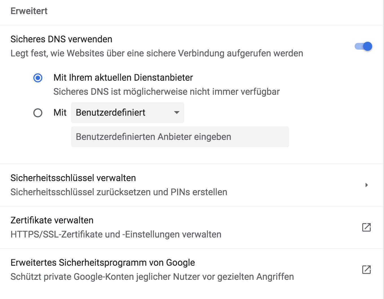 Screenshot der erweiterten Sicherheitseinstellungen mit DNS