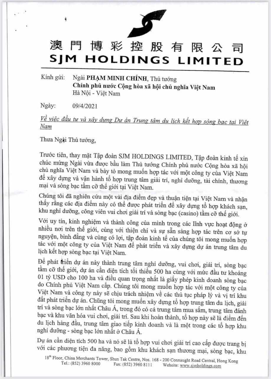 Ông Trùm Casino của Macau SJM Holdings muốn đầu tư dự án casino 6 tỷ USD vào Hải Giang Merry Land