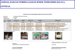 Jurnal Harian Pembelajaran Work Form Home Kelas 3 SD