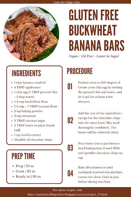 Gluten Free Buckwheat Banana Bars (Vegan, Oil Free)