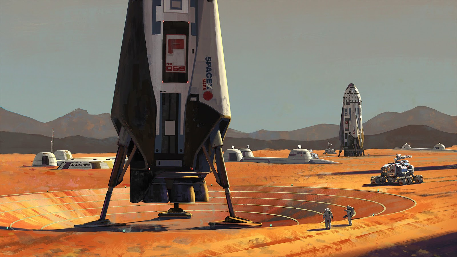 Wallpaper HD - SpaceX Mars Exploration illustration in 1920x1080 pixels