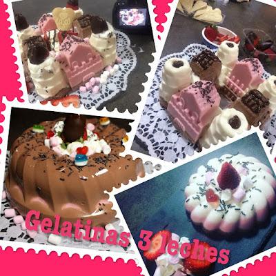 Pastel de gelatina de 3 leches con fresas