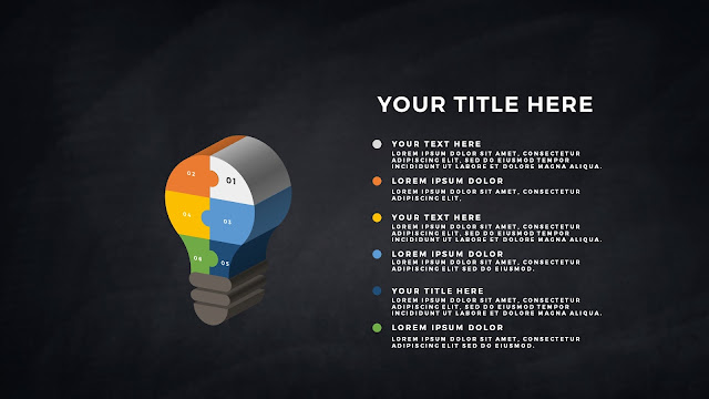 Free PowerPoint Template with Light Bulb 3D Puzzle infographics