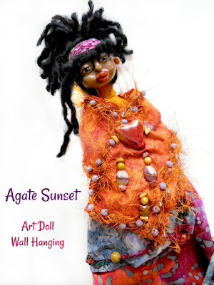 Mountain Folk Art Doll OOAK Cloth and Clay titled The Agate Sunset and her Heart Wide Open