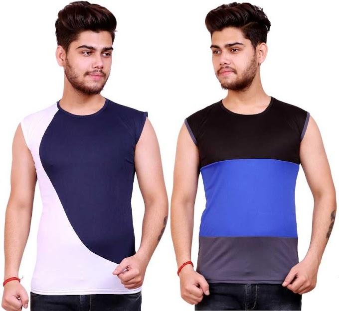 Rs,278/- Color Block Men Round Neck Dark Blue, White, Black, Blue, Grey T-Shirt  (Pack of 2)