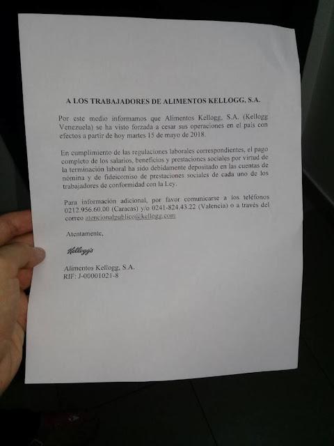 Alimentos Kellogg's anuncia cese de operaciones en Venezuela