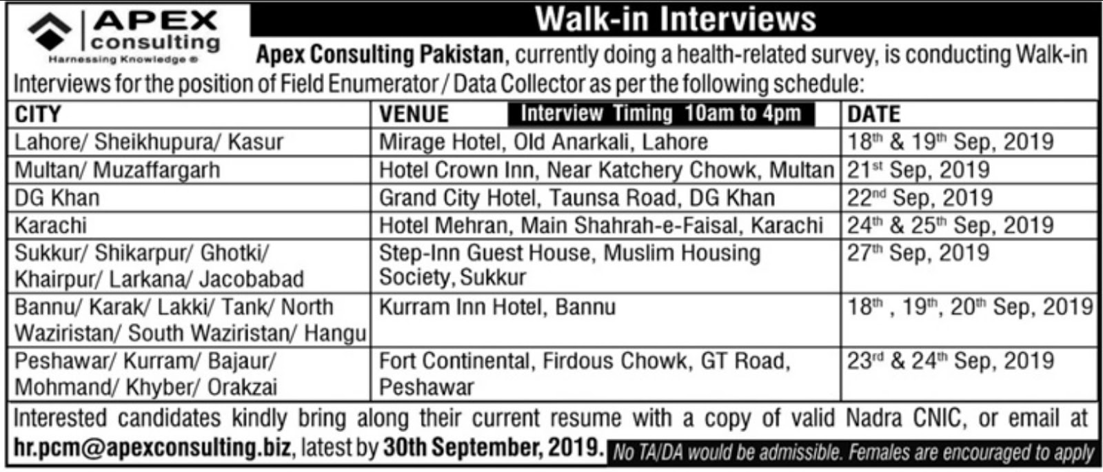 Jobs In Apex Consulting Pakistan 2019