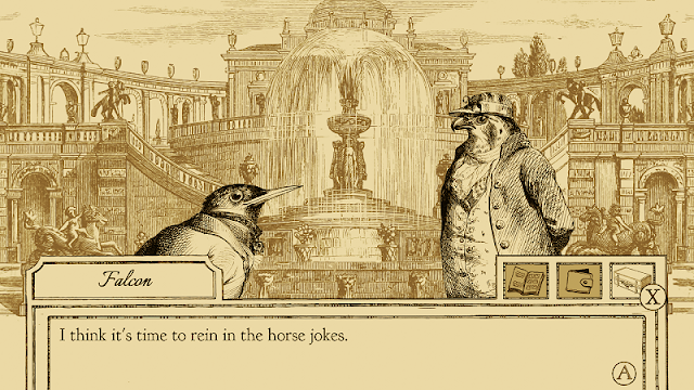 Aviary Attorney Definitive Edition Nintendo Switch Falcon rein in the horse jokes