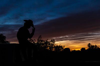 cowboy sunset silhouette