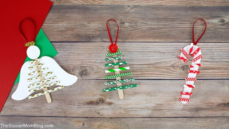 Paper straw Christmas craft for kids