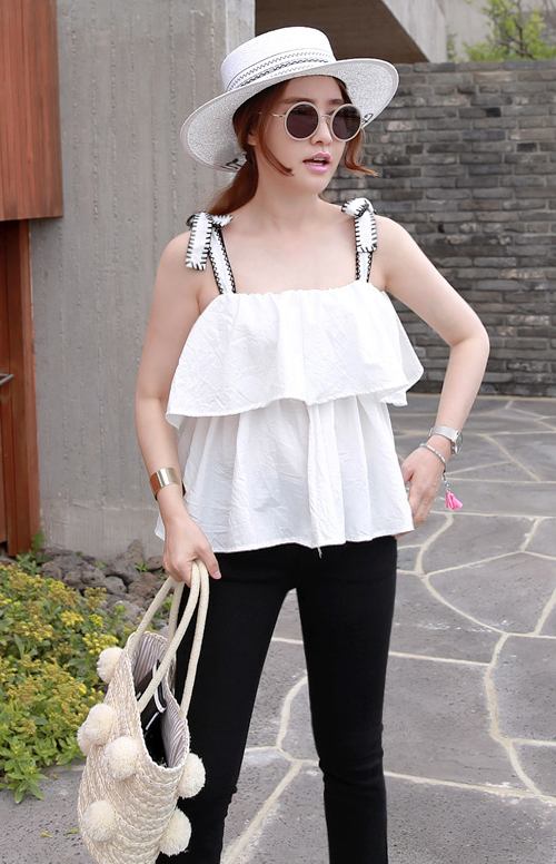 Exposed Stitch Strap Ruffled Blouse