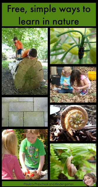 11 FREE, simple ways to learn in the natural world, from Paula's Preschool and Kindergarten