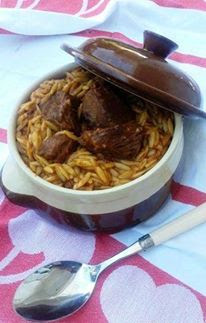 Giouvetsi - Youvetsi- Greek beef stew with orzo