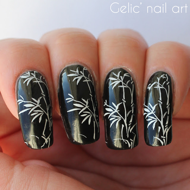 Gelic nail art here i made a simple and fresh stamping with a bamboo pattern this is actually my 3rd this month but will show the other in a later time prinsesfo Gallery