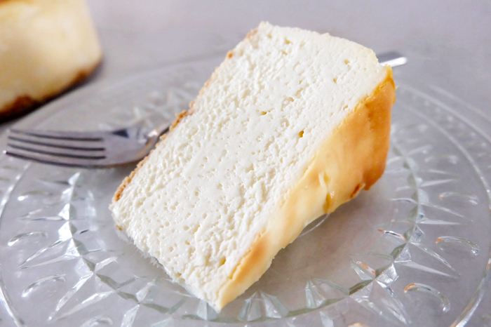 view of sliced NY style cheesecake