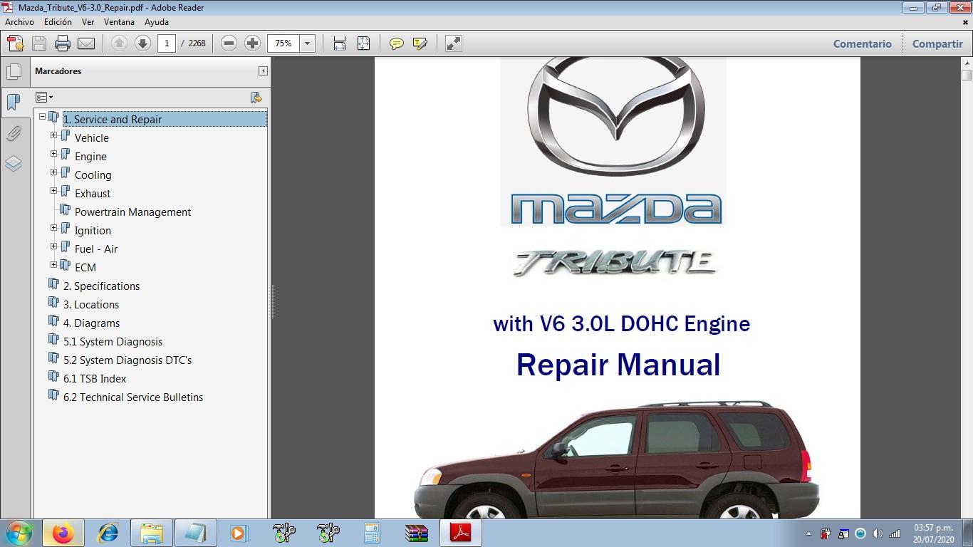 Manuales De Taller De Mazda  Mazda Tribute Con Motor