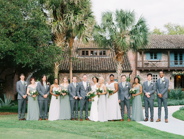 large bridal party at casa feliz