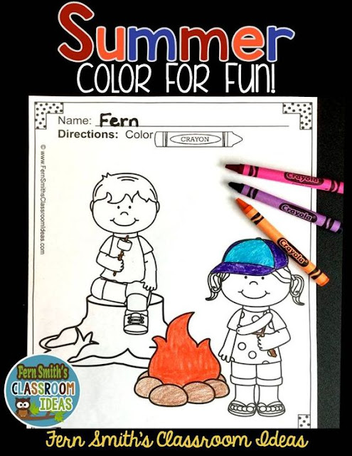 Fern Smith's Classroom Ideas Summer Color for Fun for Teachers at the End of the School Year on TeachersPayTeachers.