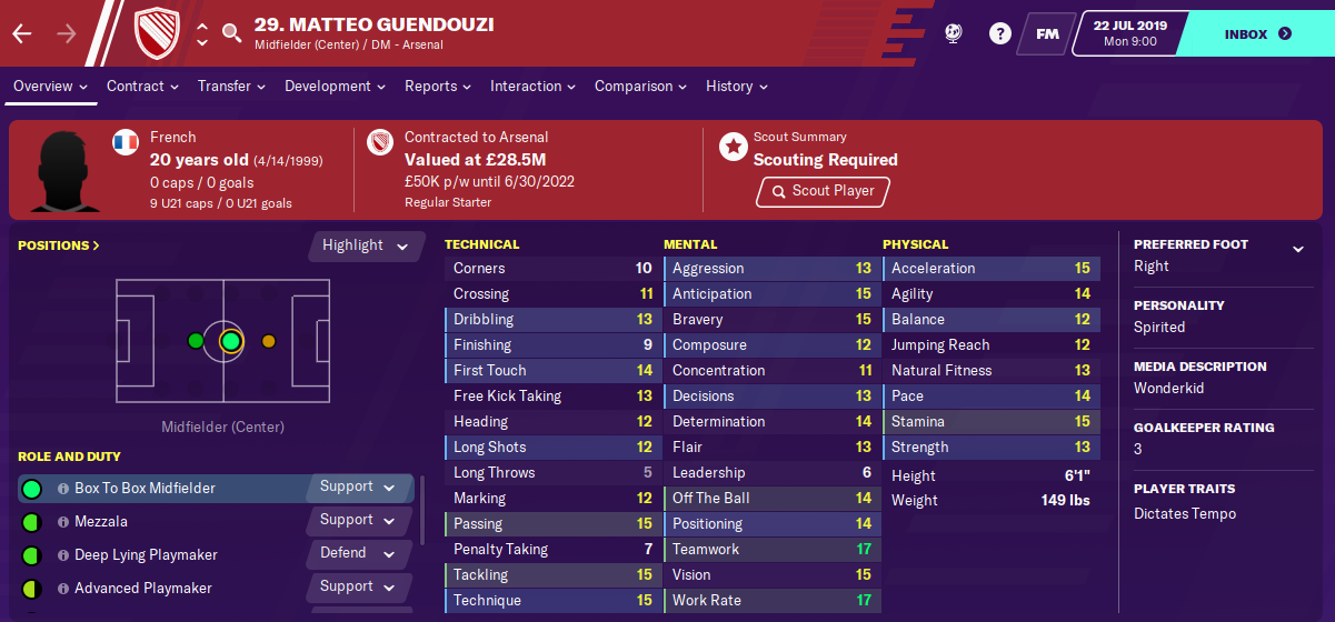 Matteo Guendouzi: Starting Attributes in FM2020